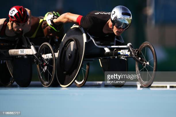 Marcel Hug of Switzerland competes in the first round of the Men's 1500m T54 race on Day Five of the IPC World Para Athletics Championships 2019...