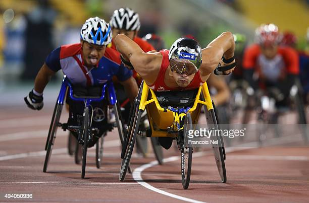 Marcel Hug of Switzerland competes in the men's 1500m T54 final during the Evening Session on Day Three of the IPC Athletics World Championships at...