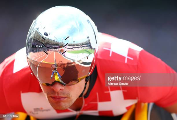 Marcel Hug of Switzerland competes in the Men's 1500m T54 heats on day 5 of the London 2012 Paralympic Games at Olympic Stadium on September 3 2012...