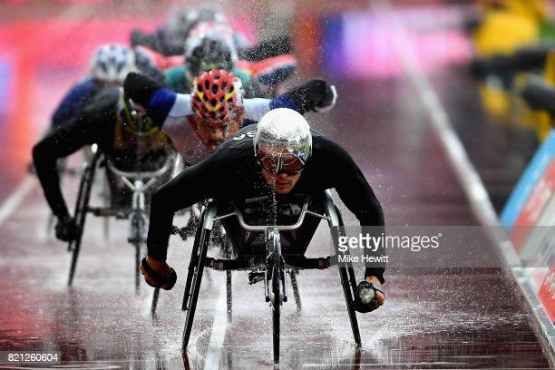 Marcel Hug of Switzerland competes in the Mens 5000m T54 final during day ten of the IPC World ParaAthletics Championships 2017 at London Stadium on...