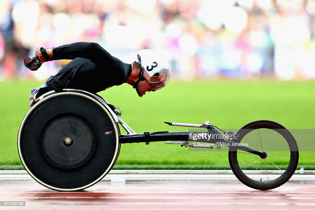 Marcel Hug of Switzerland competes in the Mens 5000m T54 final during day ten of the IPC World ParaAthletics Championships 2017 at London Stadium on July 23, 2017 in London, England.