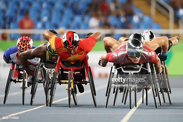 Marcel Hug of Switzerland competes in the Men's 800m T54 Heat on day 7 of the Rio 2016 Paralympic Games at the Olympic Stadium on September 14 2016...