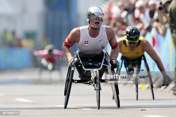 Marcel Hug of Switzerland competes in the Men's Marathon T54 at Fort Copacabana on day 11 of the Rio 2016 Paralympic Games at on September 18 2016 in...