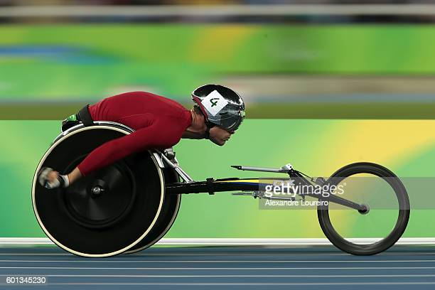 Marcel Hug of Switzerland competes on the Men's 5000m T54 SemiFinal on day 2 of the Rio 2016 Paralympic Games at the Olympic Stadium on September 9...