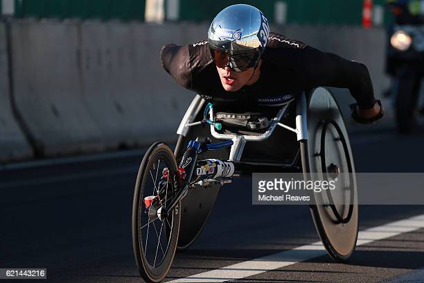 Marcel Hug of Switzerland crosses the VerrazanoNarrows Bridge at the start of the 2016 TCS New York City Marathon on November 6 2016 in the Brooklyn...