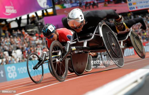 Marcel Hug of Switzerland leads in the mens 5000m T54 heats during the World Para Athletics Championships 2017 at the Olympic Stadium on July 22nd...