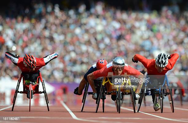 Marcel Hug of Switzerland leads the field in the Men's 1500m T54 heats on day 5 of the London 2012 Paralympic Games at Olympic Stadium on September 3...