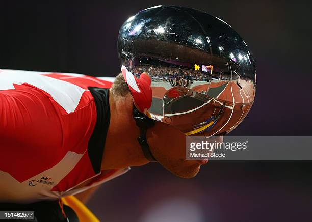 Marcel Hug of Switzerland looks on during the Men's 400m T54 Final on day 9 of the London 2012 Paralympic Games at Olympic Stadium on September 7...