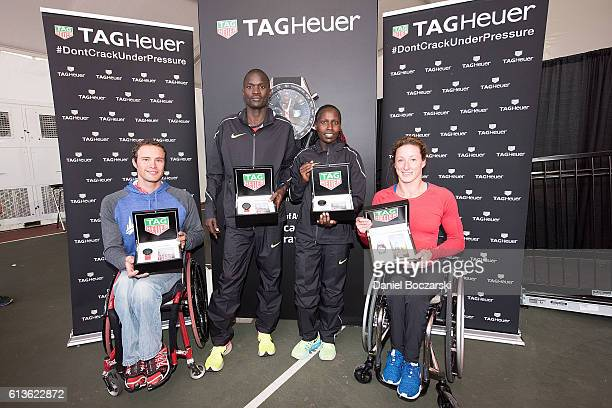 Marcel Hug of Switzerland winner of the men's wheelchair race Abel Kirui of Kenya winner of the men's race Florence Kiplagat of Kenya winner of the...