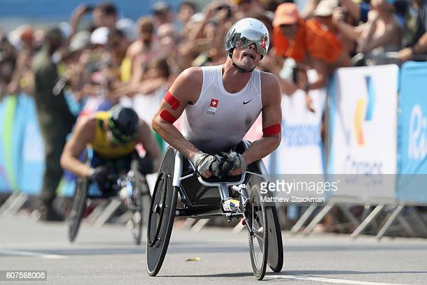 Marcel Hug of Switzerland wins the men's marathon T54 during day 11 of the Rio 2016 Paralympic Games at Fort Copacabana on September 18 2016 in Rio...