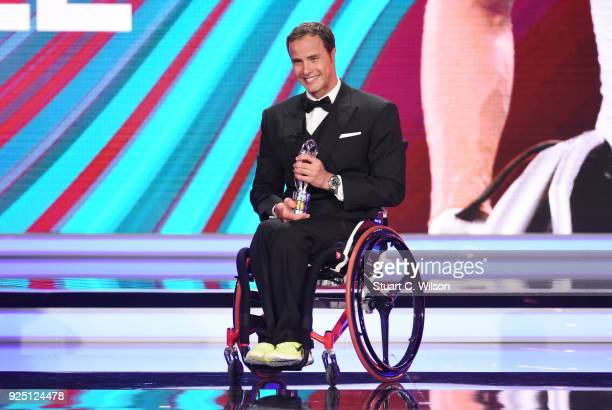Marcel Hug receives the Disability Award during the 2018 Laureus World Sports Awards show at Salle des Etoiles Sporting MonteCarlo on February 27...