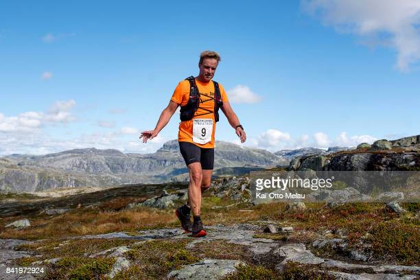 Marcel Kamphuis from the Netherlands at Hardangervidda Marathon on September 2 2017 in Eidfjord Norway Hardangervidda Marathon goes through parts of...