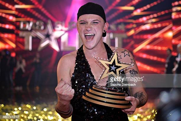 Marcel Kaupp celebrates after winning the finals of the tv show 'Das Supertalent' at Coloneum on December 20 2014 in Cologne Germany