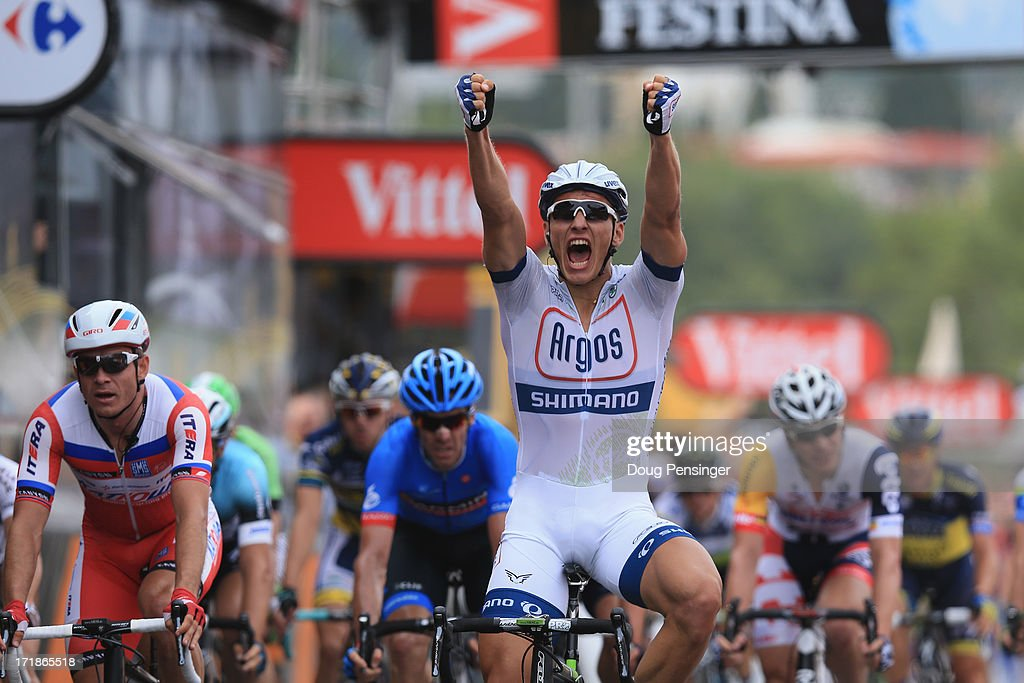 Marcel Kittel of Germany and Argos-Shimano celebrates after winning stage one of the 2013 Tour de France, a 213KM road stage from Porto-Vecchio to Bastia, on June 29, 2013 in Bastia, France.