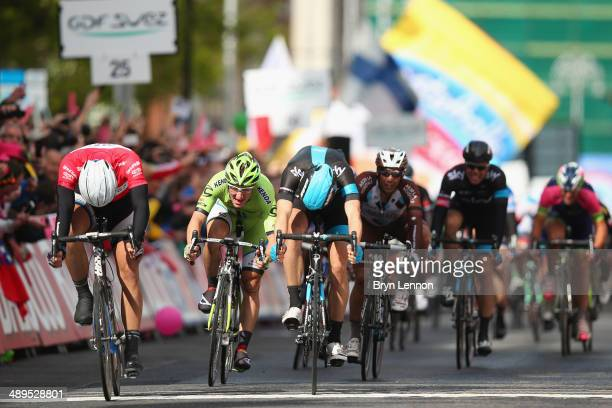 Marcel Kittel of Germany and GiantShimano narrowly wins the sprint to win during the third stage of the 2014 Giro d'Italia a 187km stage between...