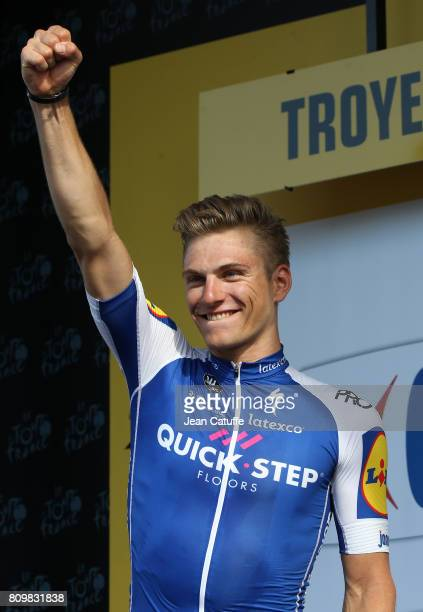 Marcel Kittel of Germany and Quick Step Floors celebrates on the podium winning stage 6 of the Tour de France 2017, a stage between Vesoul and Troyes...