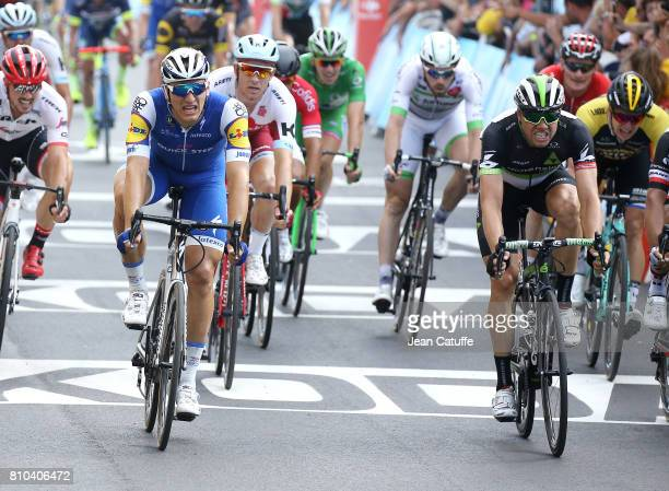 Marcel Kittel of Germany and Quick Step Floors wins in front of Edvald Boasson Hagen of Norway and Dimension Data stage 7 of the Tour de France 2017...