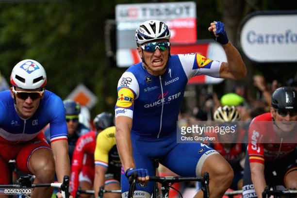 Marcel Kittel of Germany and QuickStep Floors celebrates his victory in stage two of the 2017 Tour de France a 2035km road stage from Dusseldorf to...