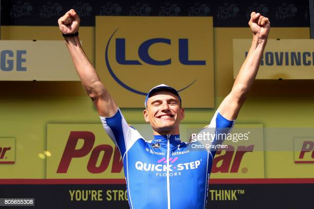 Marcel Kittel of Germany and QuickStep Floors celebrates on the podium after taking the points jersey and winning stage two of the 2017 Tour de...