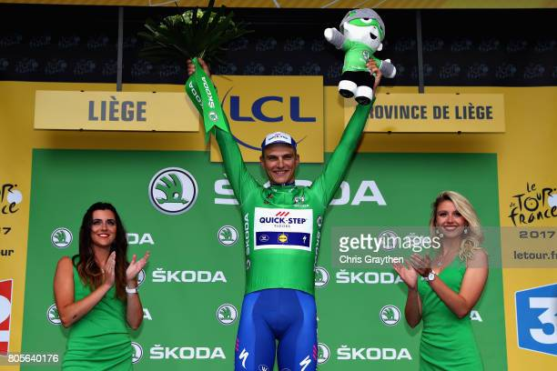 Marcel Kittel of Germany and QuickStep Floors celebrates with the green jersey on the podium during stage two of the 2017 Tour de France a 2035km...