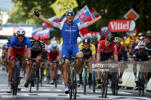 Marcel Kittel of Germany and Quick-Step Floors crosses the line and celebrates his victory in stage two of the 2017 Tour de France, a 203.5km road...