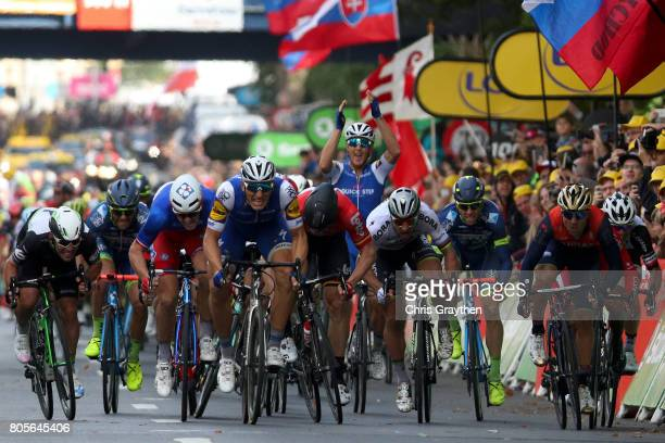 Marcel Kittel of Germany and QuickStep Floors crosses the line and celebrates his victory in stage two of the 2017 Tour de France a 2035km road stage...