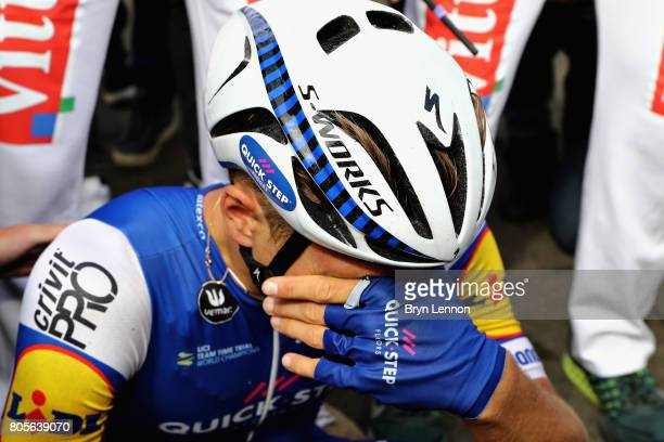 Marcel Kittel of Germany and QuickStep Floors recovers after winning stage two of the 2017 Tour de France a 2035km road stage from Dusseldorf to...