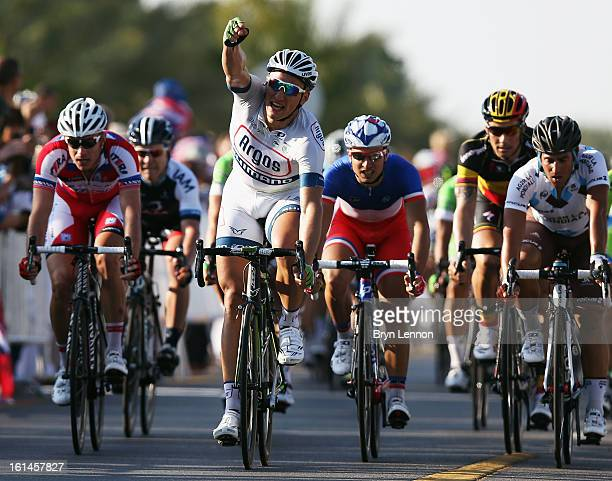 Marcel Kittel of Germany and Team Argos-Shimano celebrates winning stage one of the 2013 Tour of Oman from Al Musannah to Sultan Qaboos University on...