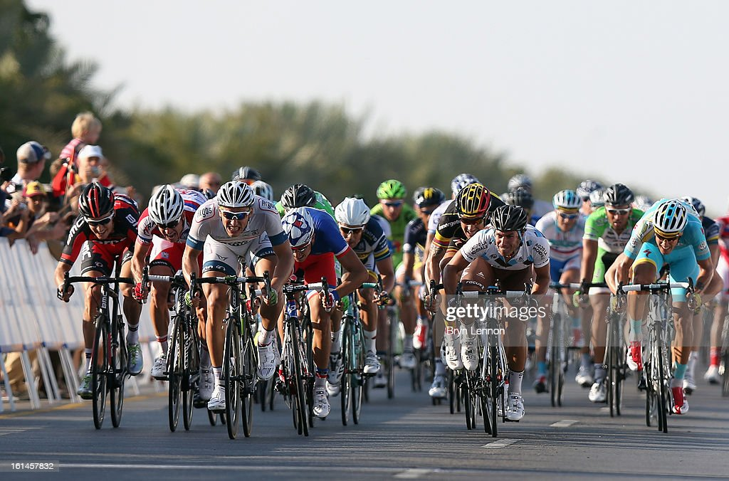Marcel Kittel of Germany and Team Argos-Shimano sprints for the finishline to win stage one of the 2013 Tour of Oman from Al Musannah to Sultan Qaboos University on February 11, 2013 in Muscat, Oman.