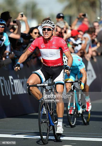 Marcel Kittel of Germany and Team Giant Shimano celebrates crossing the line to win the fourth stage of the 2014 Dubai Tour on February 8 2014 in...