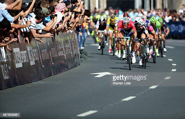 Marcel Kittel of Germany and Team Giant Shimano sprints to win the fourth stage of the 2014 Dubai Tour on February 8 2014 in Dubai United Arab...