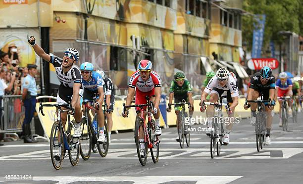 Marcel Kittel of Germany and Team Giant-Shimano beats Alexander Kristoff of Norway and Team Katusha to win the twenty one and last stage of the 2014...