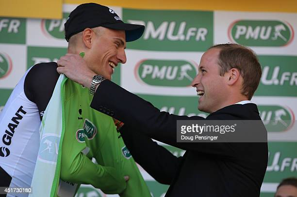 Marcel Kittel of Germany and Team Giant-Shimano is awarded the points leader's green jersey by Prince William, Duke of Cambridge after Kittel won...