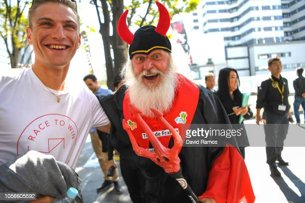 Marcel Kittel of Germany and Team Katusha Alpecin and Didi Senft of Germany Devil Didi Devil / visiting Saitamarche Market during the 6th Tour de...