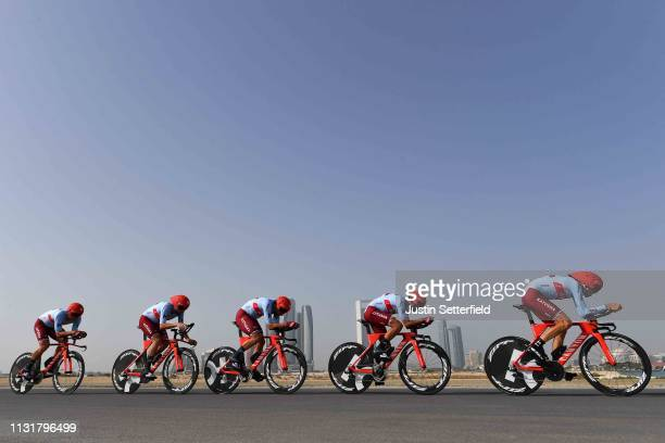 Marcel Kittel of Germany and Team KatushaAlpecin / Alex Dowsett of Great Britain and Team KatushaAlpecin / Marco Haller of Austria and Team...