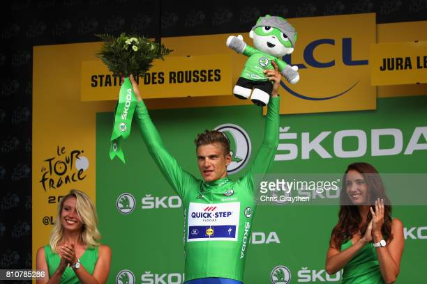 Marcel Kittel of Germany and Team QuickStep Floors celebrates retaining the green jersey during stage eight of the 2017 Le Tour de France a 1875km...