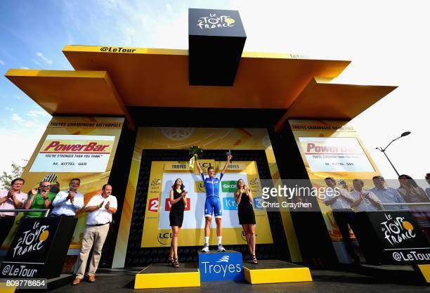Marcel Kittel of Germany and Team Quick-Step Floors celebrates wining stage six of the 2017 Le Tour de France a 216km road stage from Troyes to to...