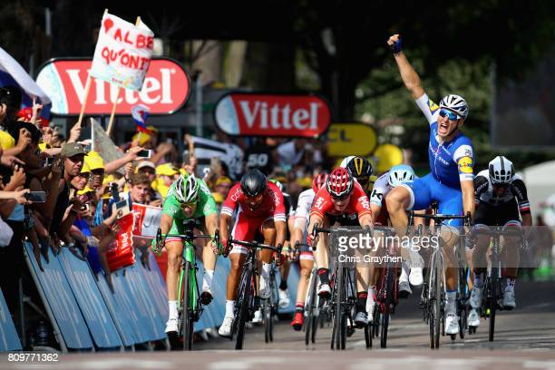 Marcel Kittel of Germany and Team QuickStep Floors celebrates winning stage six of the 2017 Le Tour de France a 216km road stage from Troyes to to...