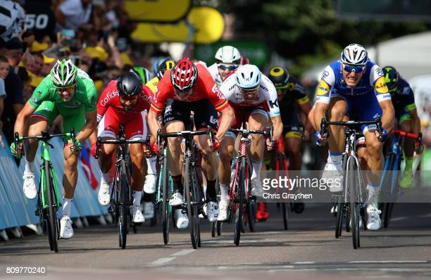 Marcel Kittel of Germany and Team QuickStep Floors races towards the finish line to win stage six of the 2017 Le Tour de France a 216km road stage...