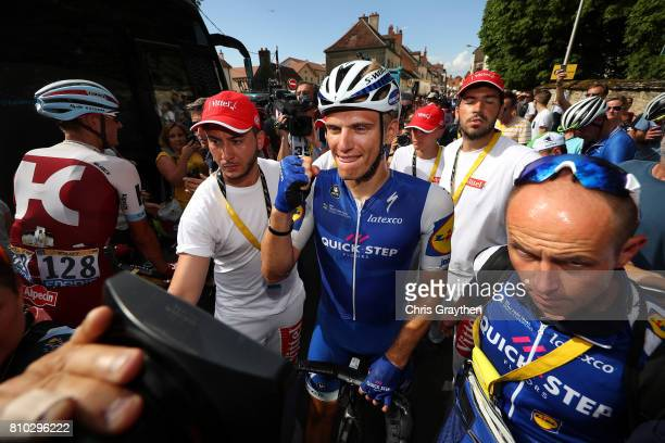 Marcel Kittel of Germany riding for QuickStep Floors celebrates winning stage seven of the 2017 Le Tour de France a 2135km stage from Troyes to...