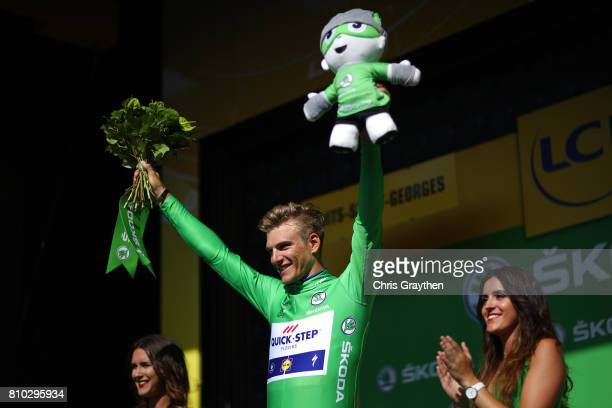 Marcel Kittel of Germany riding for QuickStep Floors celebrates winning the stage and taking the points jersey during stage seven of the 2017 Le Tour...