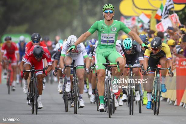 Marcel Kittel of Germany riding for QuickStep Floors celebrates crossing the finish line during stage 10 of the 2017 Le Tour de France a 178km stage...