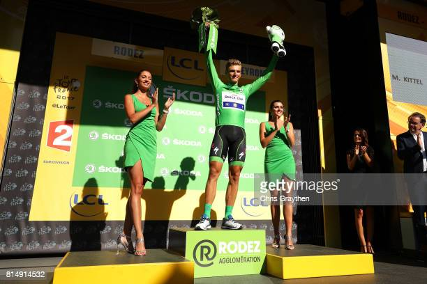 Marcel Kittel of Germany riding for QuickStep Floors poses for a photo on the stage in the green points jersey following stage 14 of the 2017 Le Tour...