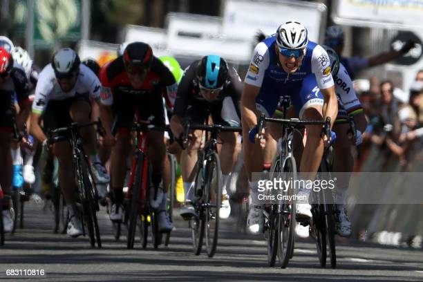 Marcel Kittel of Germany riding for QuickStep Floors Team celebrates after beating Peter Sagan of Slovakia riding for BoraHansgrohe Team during Stage...