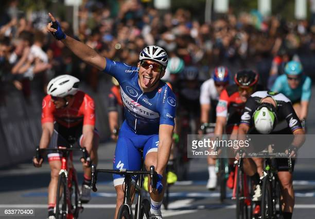 Marcel Kittel of Quick Step Floors team and Germany crosses the finish line and wins Stage five of the 4th Tour Dubai 2017 from DIMC to City Walk on...