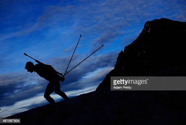 Marcel Laponder of Great Britain in action during the IBU Biathlon World Cup Men's Relay on January 15, 2015 in Ruhpolding, Germany.