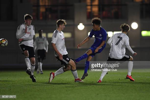 Marcel Lewis during the Fulham and Chelsea U18 Premier League match at Motspur Park on February 23 2018 in New Malden England
