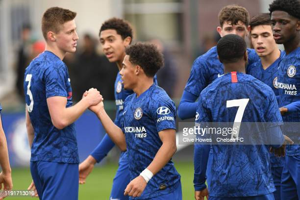 Marcel Lewis of Chelsea celebrates his goal during the Chelsea FC v Arsenal FC Premier League U18 match at Chelsea Training Ground on January 4 2020...