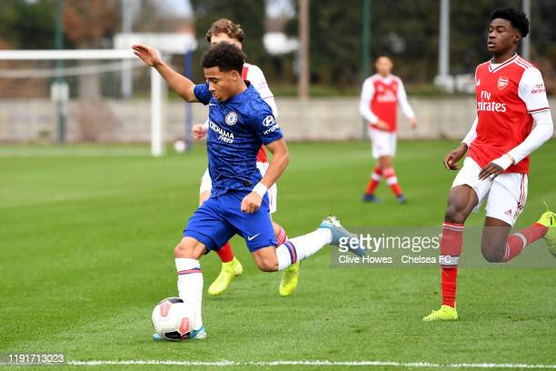 Marcel Lewis of Chelsea during the Chelsea FC v Arsenal FC Premier League U18 match at Chelsea Training Ground on January 4 2020 in Cobham England