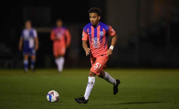 Marcel Lewis of Chelsea during the EFL Trophy match between Bristol Rovers and Chelsea U21 at the Memorial Stadium on November 18, 2020 in Bristol,...